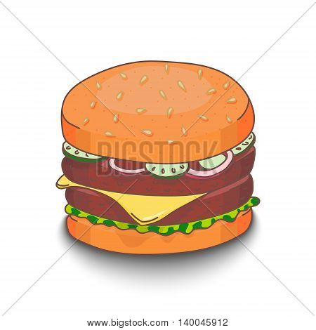 Cute hand-drawn cartoon style hamburger with shadow on white background. EPS10