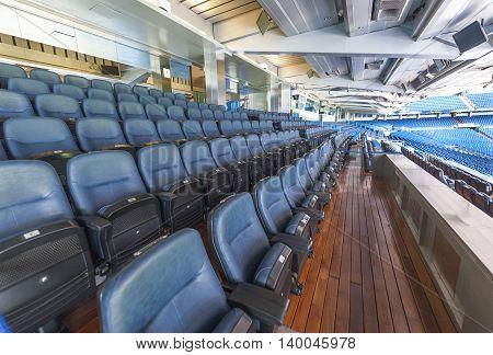 MADRID,SPAIN-MAY 2016: in the VIP tribune at Santiago  Bernabeu stadium