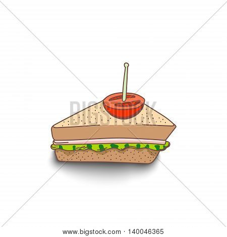 Cute hand-drawn cartoon style sandwich with shadow on white background. EPS10
