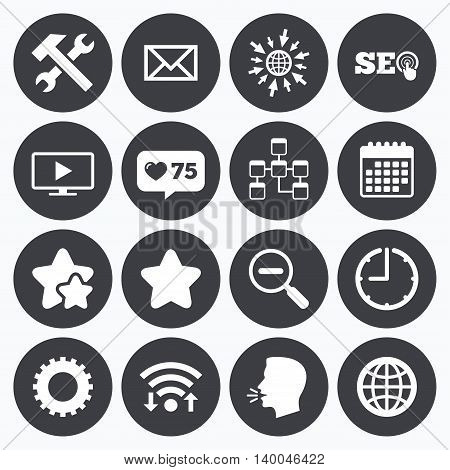 Calendar, wifi and clock symbols. Like counter, stars symbols. Internet, seo icons. Repair, database and star signs. Mail, settings and monitoring symbols. Talking head, go to web symbols. Vector