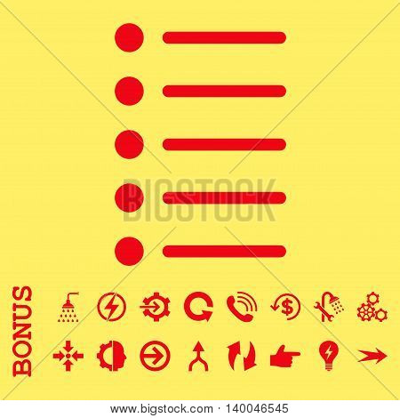Items vector icon. Image style is a flat iconic symbol, red color, yellow background.