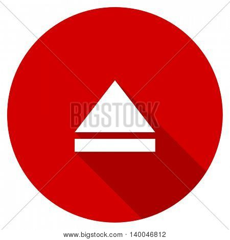 eject red vector icon, circle flat design internet button, web and mobile app illustration