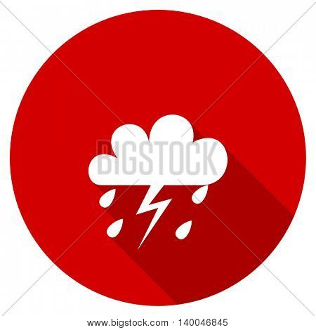 storm red vector icon, circle flat design internet button, web and mobile app illustration