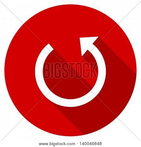 rotate red vector icon, circle flat design internet button, web and mobile app illustration