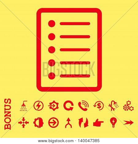 List Page vector icon. Image style is a flat pictogram symbol, red color, yellow background.