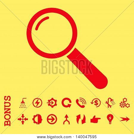 Magnifier vector icon. Image style is a flat pictogram symbol, red color, yellow background.