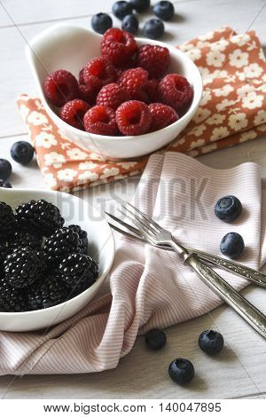 Raspberry blueberry and two forks on the table