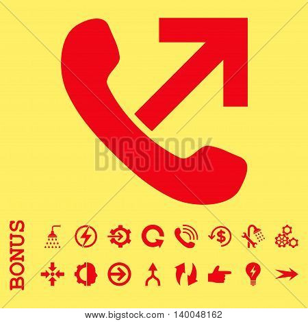 Outgoing Call vector icon. Image style is a flat pictogram symbol, red color, yellow background.
