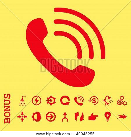 Phone Call vector icon. Image style is a flat pictogram symbol, red color, yellow background.