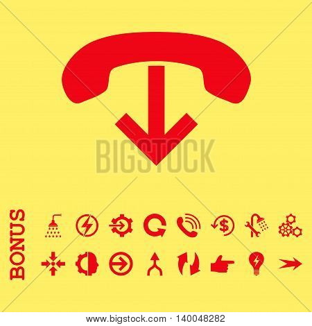Phone Hang Up vector icon. Image style is a flat pictogram symbol, red color, yellow background.