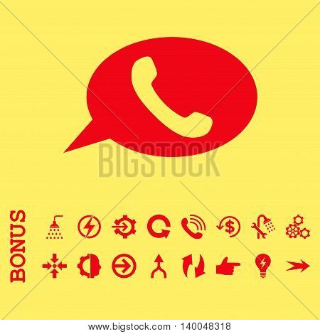 Phone Message vector icon. Image style is a flat pictogram symbol, red color, yellow background.