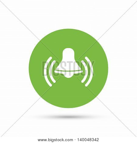 Bell icon. Reminder alarm signal symbol. Flat web button with icon on white background. Green round pressbutton with shadow. Vector