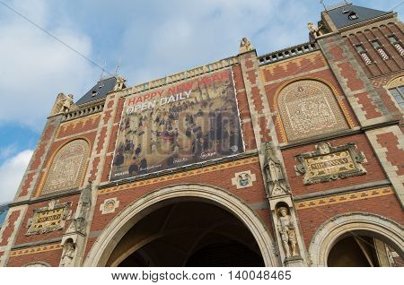 AMSTERDAM NETHERLANDS - DECEMBER 26 2015: The Rijksmuseum in amsterdam the largest and most inportant museum in the netherlands
