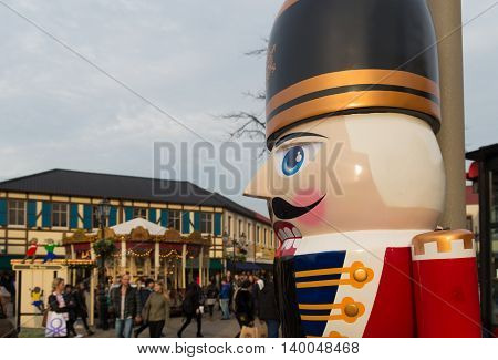ROERMOND NETHERLANDS - DECEMBER 20 2015: Large nutcracker close up at the fashion designers outlet in roermond