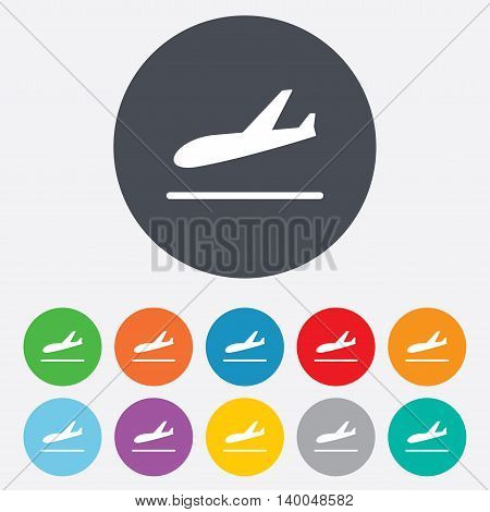 Plane landing icon. Airplane transport symbol. Round colourful 11 buttons. Vector
