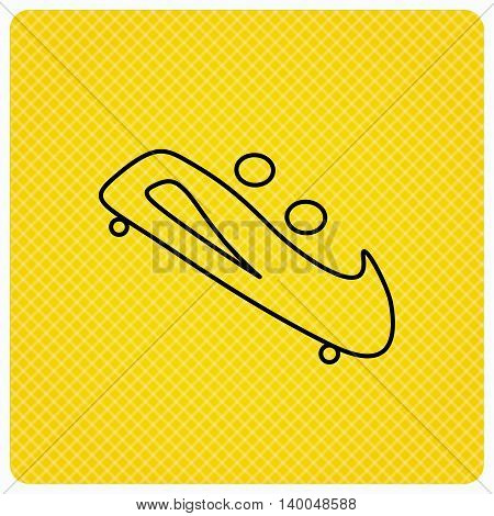 Bobsleigh icon. Two-seater bobsled sign. Professional winter sport symbol. Linear icon on orange background. Vector