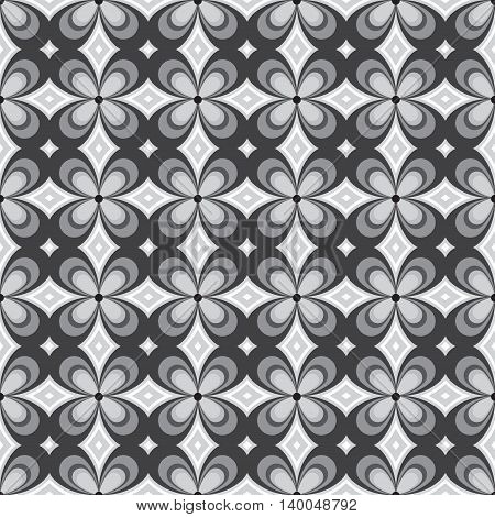 Abstract flower monochrome seamless pattern. Can be used for web print and book design home decor fashion textile wallpaper. vector