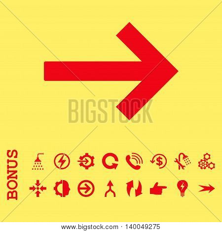 Right Arrow vector icon. Image style is a flat pictogram symbol, red color, yellow background.