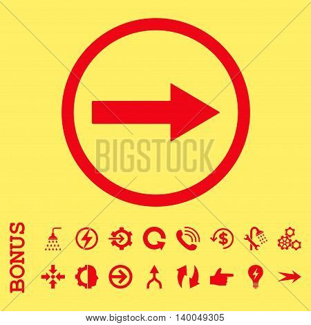 Right Rounded Arrow vector icon. Image style is a flat pictogram symbol, red color, yellow background.