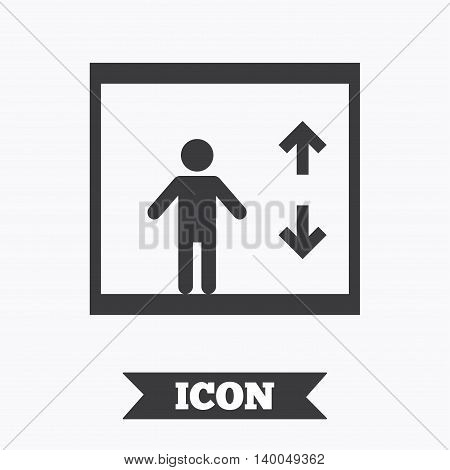 Elevator sign icon. Person symbol with up and down arrows. Graphic design element. Flat elevator symbol on white background. Vector