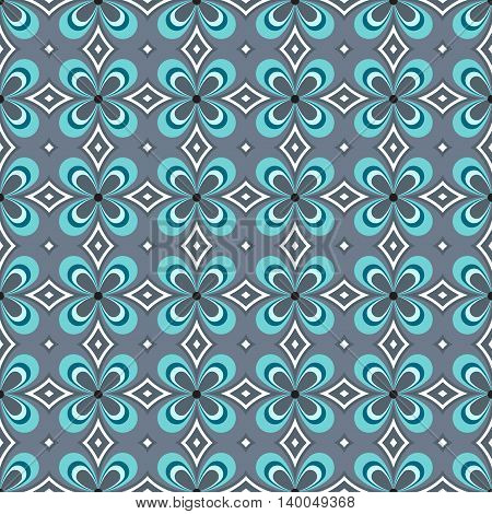 Geometric blue seamless pattern with stylish flower.