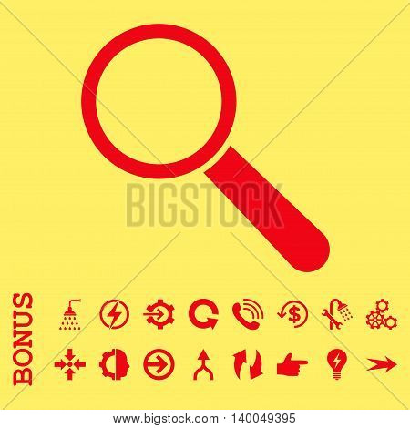 Search Tool vector icon. Image style is a flat iconic symbol, red color, yellow background.