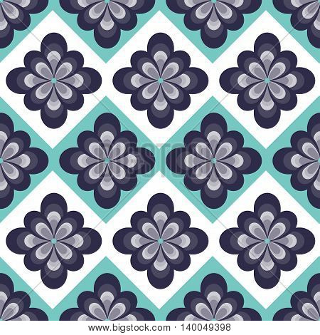 Abstract blue flower seamless pattern.