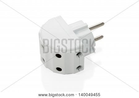 Device adapter tee electrical on five sockets isolated on white background