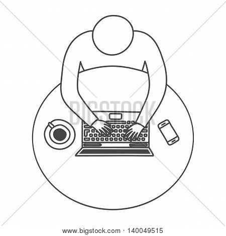 Thin line design of simplified modern business workspace. Top view of office desk with laptop, smartphone and coffee cup. Handdrawn outline isolated vector illustration