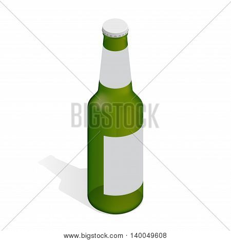 Bottle of beer with label. Flat 3d isometric illustration