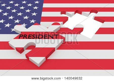 BERLIN, GERMANY - JULY 26, 2016: US election: Missing puzzle piece president with US flag 3d illustration