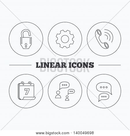 Phone call, chat speech bubbles and lock icons. Dialog linear sign. Flat cogwheel and calendar symbols. Linear icons in circle buttons. Vector