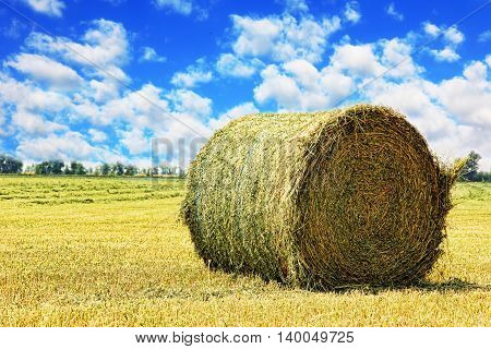 Hay bale on stubble field against cloudy sky taken closeup.