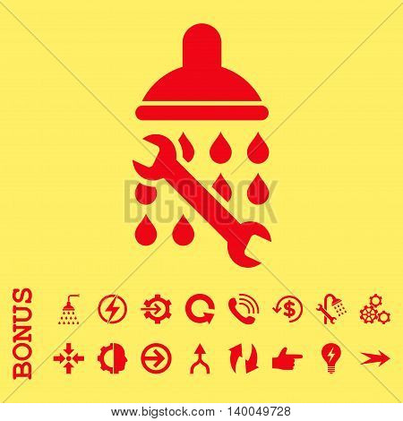 Shower Plumbing vector icon. Image style is a flat iconic symbol, red color, yellow background.
