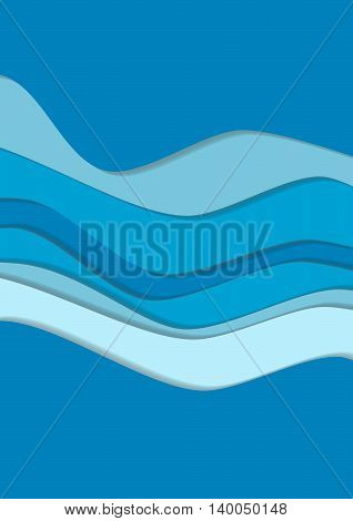 Blue curve wave line background, ocean in paper cut style. Cropped with Clipping Mask