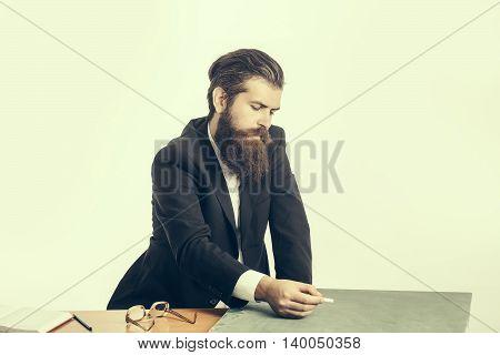 Bearded Man Professor Glasses With Blackboard