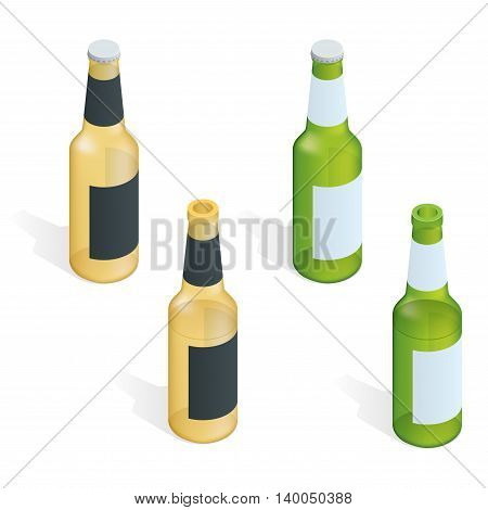 Bottle of beer with drops. Flat 3d vector isometric illustration