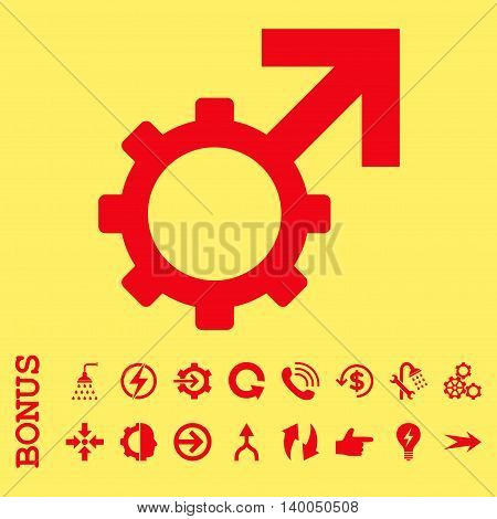 Technological Potence vector icon. Image style is a flat iconic symbol, red color, yellow background.