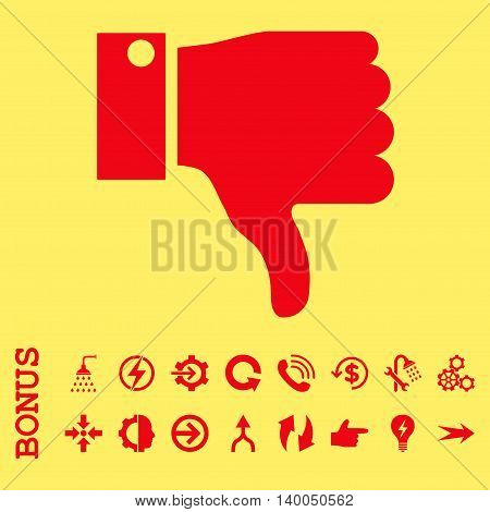 Thumb Down vector icon. Image style is a flat pictogram symbol, red color, yellow background.