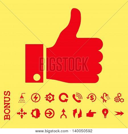 Thumb Up vector icon. Image style is a flat iconic symbol, red color, yellow background.