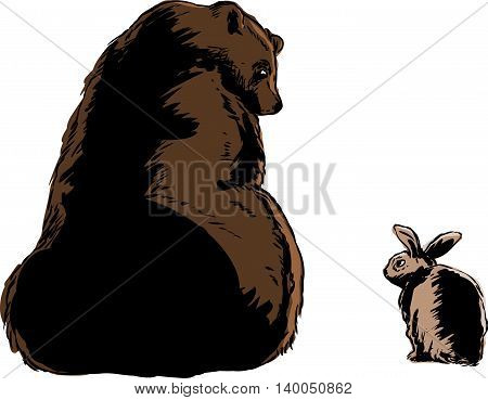 Large Brown Bear And Little Rabbit
