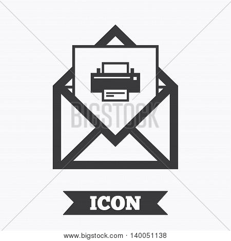 Mail print icon. Envelope symbol. Message sign. Mail navigation button. Graphic design element. Flat mail print symbol on white background. Vector