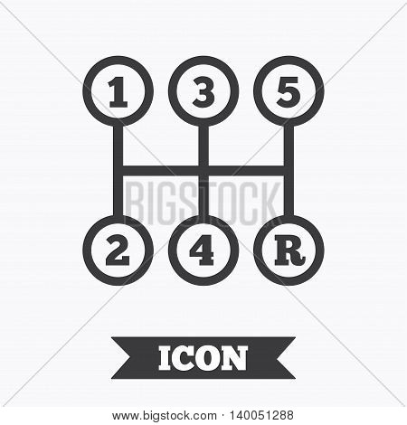 Manual transmission sign icon. Automobile mechanic control symbol. Graphic design element. Flat transmission symbol on white background. Vector