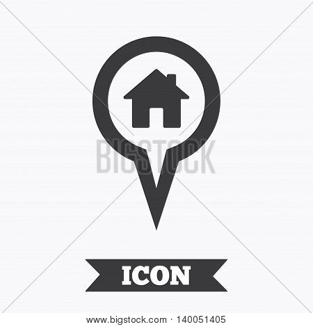 Map pointer house sign icon. Home location marker symbol. Graphic design element. Flat map pointer symbol on white background. Vector