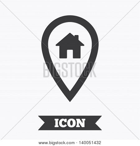 Map pointer house sign icon. Home location marker symbol. Graphic design element. Flat home marker symbol on white background. Vector