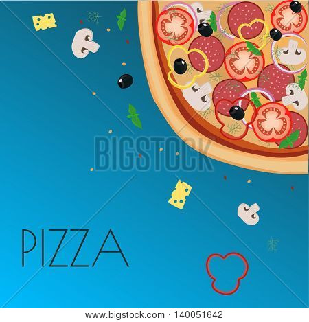 Menu pizza on the chalkboard. Pizza restaurant menu. Pizza sketch menu. Ingredients pizza for cafe menu. Vector illustration