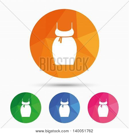 Pregnant woman dress sign icon. Maternity clothing symbol Triangular low poly button with flat icon. Vector
