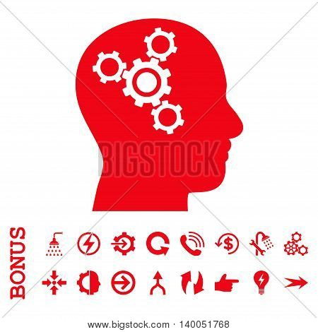 Brain Mechanics vector icon. Image style is a flat pictogram symbol, red color, white background.