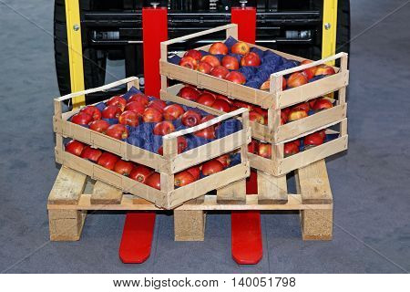 Crates With Red Apples on Forklift Pallet