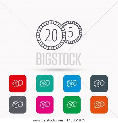 Coins icon. Cash money sign. Bank finance symbol. Twenty and five cents. Linear icons in squares on white background. Flat web symbols. Vector